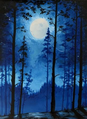 A Blue Moonlit Forest paint nite project by Yaymaker