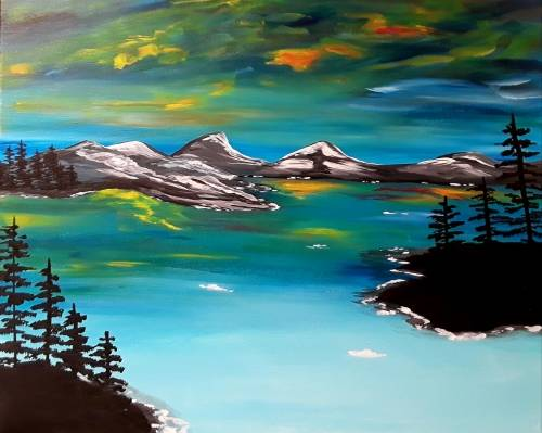 A Aurora Glacier Scape paint nite project by Yaymaker
