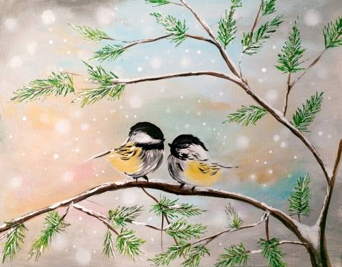 A Chattering Chickadees paint nite project by Yaymaker