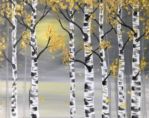 A Golden Birches II paint nite project by Yaymaker