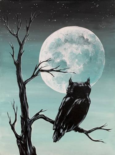 A Full Moon Owl Silhouette paint nite project by Yaymaker
