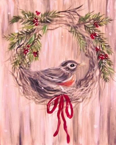 A Winter Robins Wreath paint nite project by Yaymaker