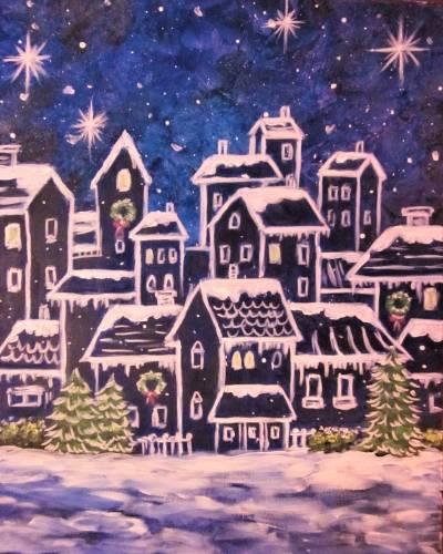 A Sleepy Winter Village paint nite project by Yaymaker