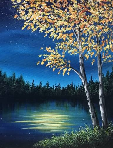 A Dark Autumn Lake paint nite project by Yaymaker