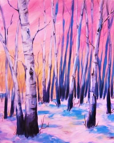 A Snowfall Over Birches paint nite project by Yaymaker