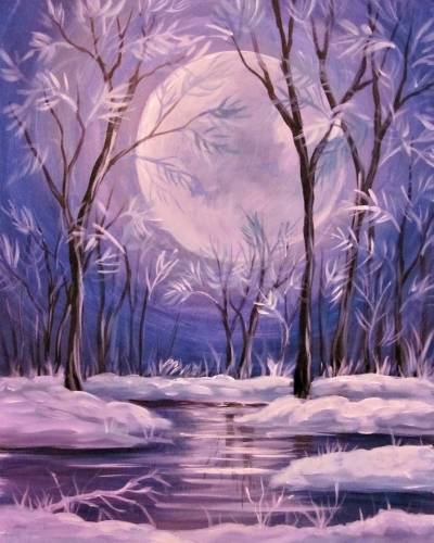 A Moonlit Fantasy Winter Forest paint nite project by Yaymaker