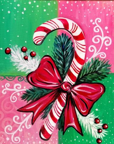 A Christmas Candy Cane Ornament paint nite project by Yaymaker