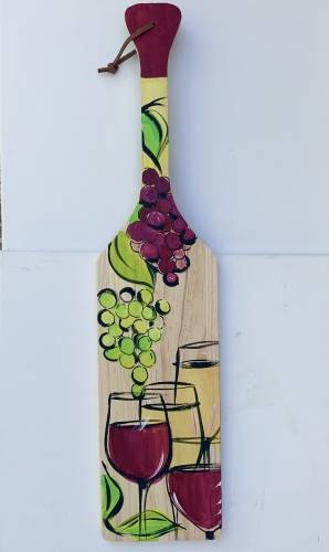 A Wine Time Wood Paddle paint nite project by Yaymaker