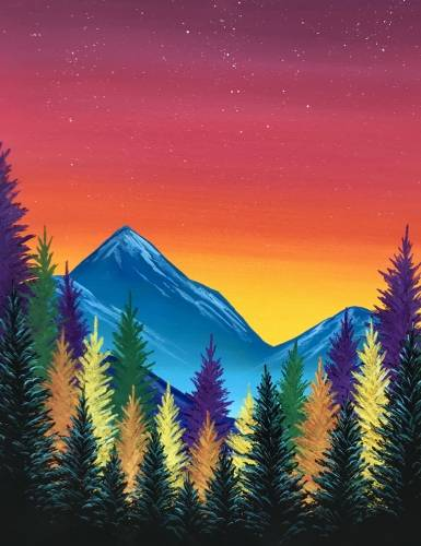 A Autumn Sunset Pine paint nite project by Yaymaker