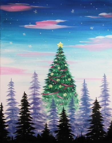 A Towering Christmas Tree paint nite project by Yaymaker