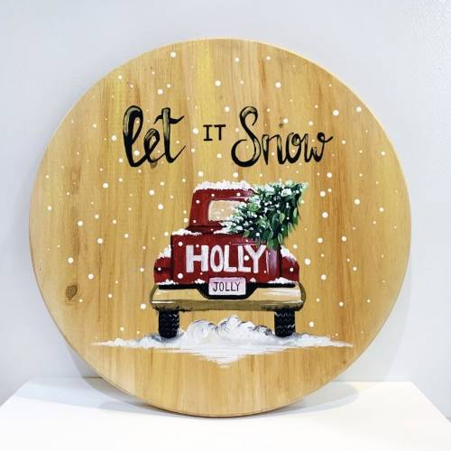 A Let It Snow Round Pine Circle paint nite project by Yaymaker