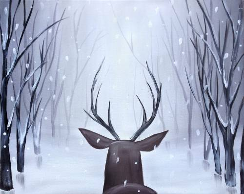 A Deer In Winter Woods paint nite project by Yaymaker