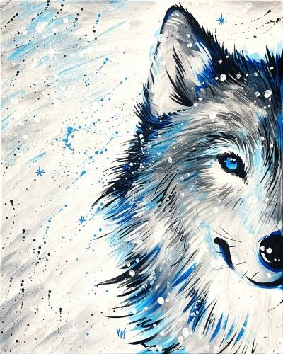 A Winter WOLF in Snow paint nite project by Yaymaker