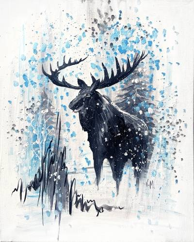 A Winter MOOSE in Snow paint nite project by Yaymaker