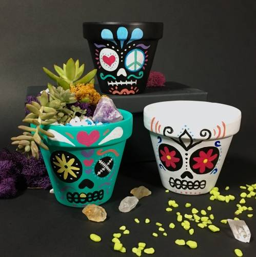 A Paint  Plant  Sugar Skull Terra Cotta Pot with Crystal II plant nite project by Yaymaker