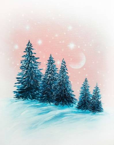 A Snow Sparkle Spruces paint nite project by Yaymaker