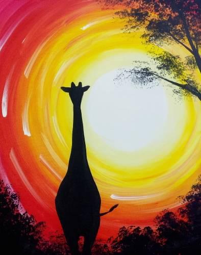A Sunset Giraffe paint nite project by Yaymaker