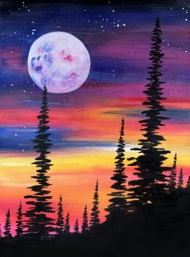 A Sunset Pine Forest paint nite project by Yaymaker