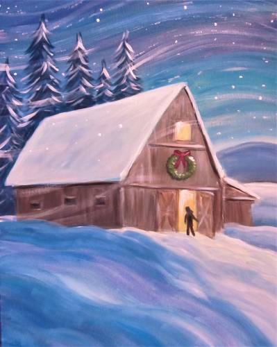 A Warm Winter Barn paint nite project by Yaymaker