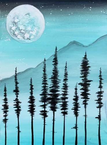 A Misty Moonlit Pines paint nite project by Yaymaker