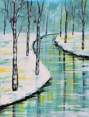 A Snowy Winter Wanderings paint nite project by Yaymaker