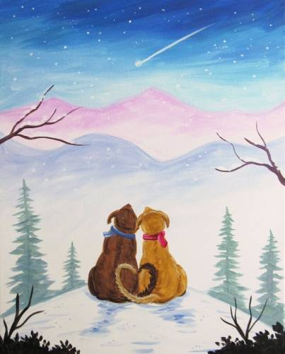 A Doggy Winter Wishes paint nite project by Yaymaker