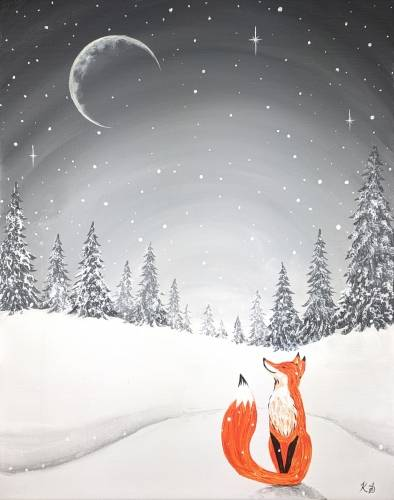 A Moonlit Winter Fox paint nite project by Yaymaker