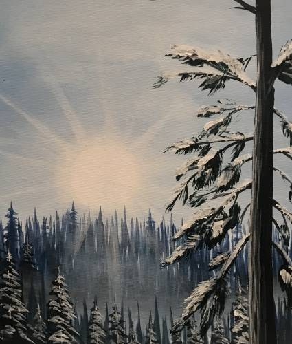 A Winter Mountain Morning paint nite project by Yaymaker
