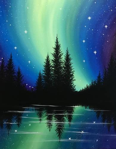 A Bright Northern Night paint nite project by Yaymaker