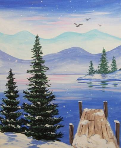 A Winter At The Dock paint nite project by Yaymaker
