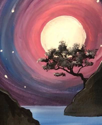 A Moonlight Tree Over The Bay paint nite project by Yaymaker