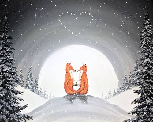 A Moonlit Foxy Lovers Partner Painting paint nite project by Yaymaker