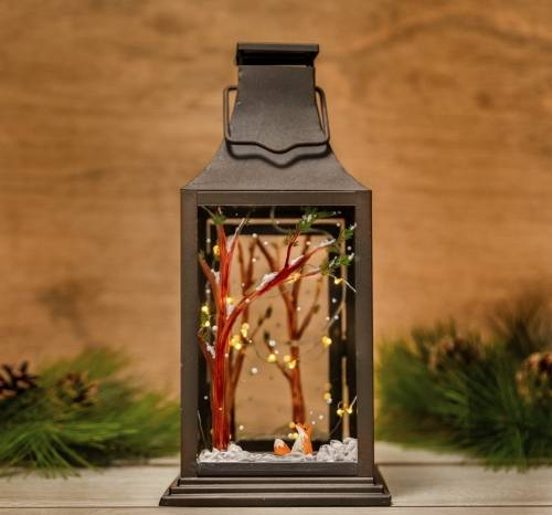 A Winter Lantern with Fox paint nite project by Yaymaker