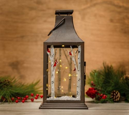 A Winter Lantern with Birches paint nite project by Yaymaker