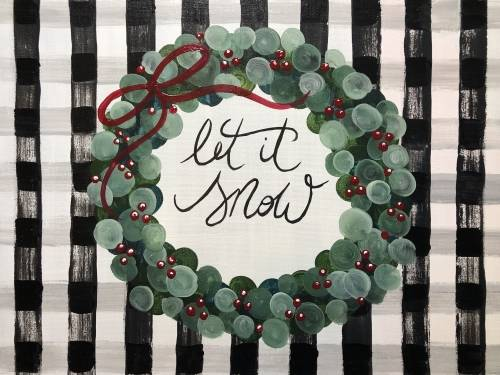 A Let it Snow Buffalo Plaid paint nite project by Yaymaker