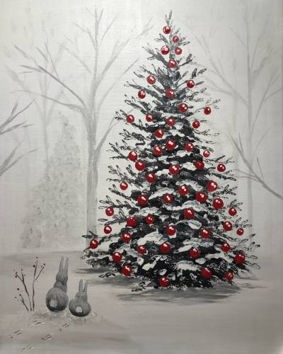 A Did Somebunny Say Christmas paint nite project by Yaymaker