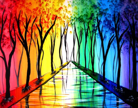 A Rainbow Road paint nite project by Yaymaker
