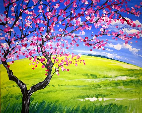 A Spring Cherry Blossom paint nite project by Yaymaker