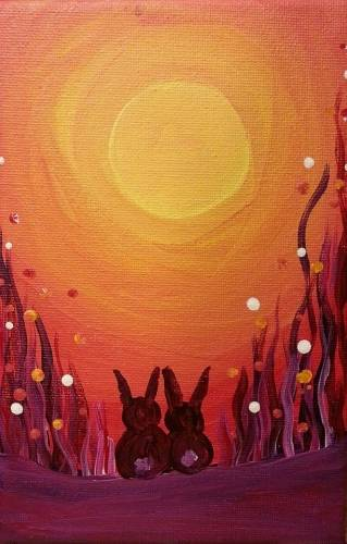 A Rabbit Sunset paint nite project by Yaymaker