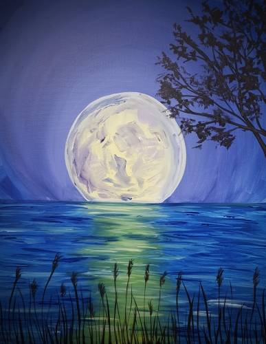 A Full Moon Tonight paint nite project by Yaymaker