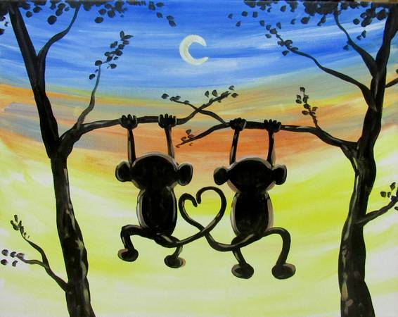 A Monkeys Hangin Out paint nite project by Yaymaker