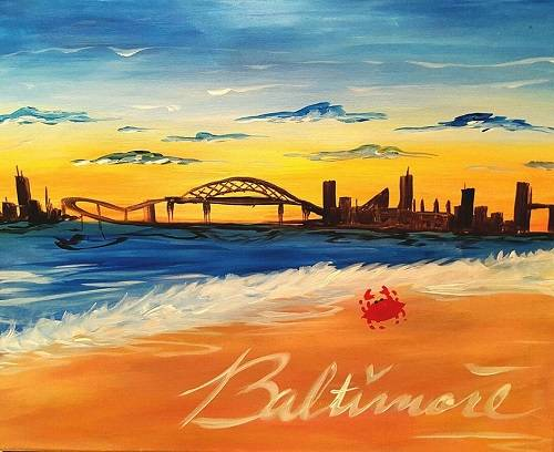 A Baltimore At The Beach paint nite project by Yaymaker