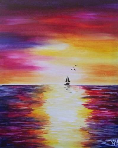 A Rainbow Sunset III paint nite project by Yaymaker