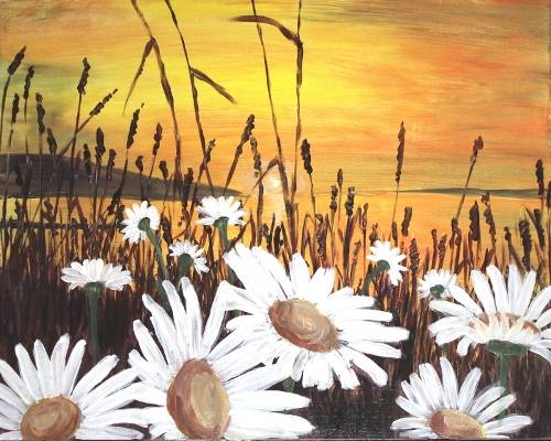 A Crazy Daisy Sunset paint nite project by Yaymaker