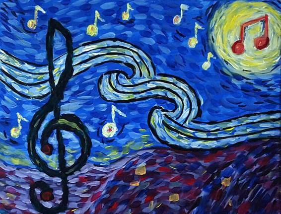 A Musical Starry Night paint nite project by Yaymaker