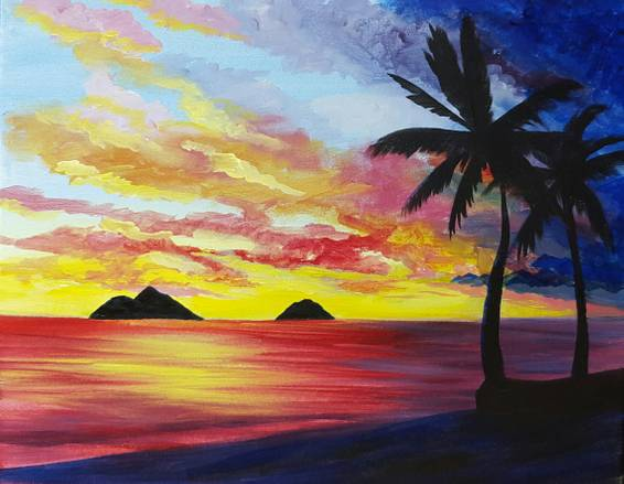 A Lanikai Sunrise paint nite project by Yaymaker