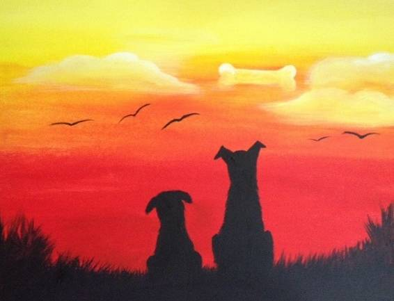 A Dog Daze paint nite project by Yaymaker