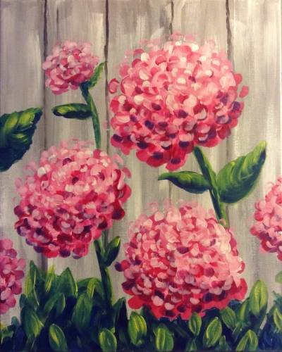 A Hey Hey Hydrangeas paint nite project by Yaymaker