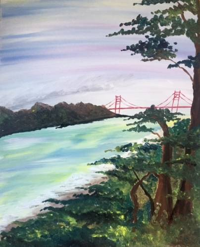 A Golden Gate Bridge in Summer paint nite project by Yaymaker