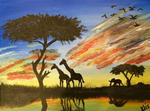 A African Safari Sunset At The Watering Hole paint nite project by Yaymaker